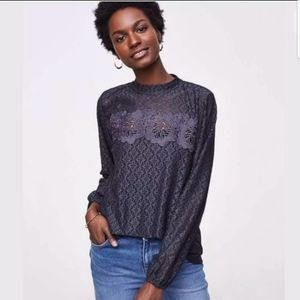ANN TAYLOR LOFT LONG SLEEVE FLORAL MOSAIC LACE TOP